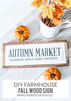 Farmhouse Fall Wood Sign | Autumn Market | simplykierste.com | Make this farmhouse fall wood sign--it's utterly charming and perfect for anywhere in your home! Silhouette and SVG cut files included.