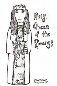 Paper Dali: Free coloring page of Our Lady of the Rosary.