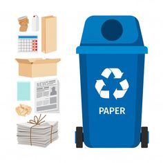 Blue garbage can with paper elements Premium Vector Preschool Arts And Crafts, Classroom Crafts, Activities For Kids, Recycling Games, Recycling Bins, Boat Drawing, Earth Day Crafts, Creative Curriculum, Nasu
