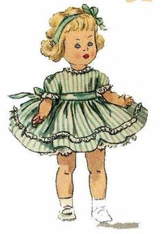 Simplicity 1372 doll clothes pattern for Ginny & Muffie. A 1950s pattern.