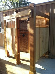 Outdoor Shower! in case we wanted to go with a wooden one we could make this one a little bigger