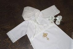 Крестильные принадлежности ручной работы. Ярмарка Мастеров - ручная работа. Купить Рубашка  с капюшоном. Handmade. Белый, крест, на крестины