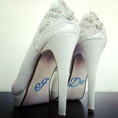 I DO Diamante Rhinestone Shoe Applique Sticker Something Blue Wedding Crystal