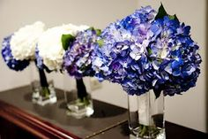 Pretty blue and purple hydrangea bouquets from Sweet Pea Wedding Services.    See more purple wedding inspiration: http://www.squidoo.com/hydrangea-wedding