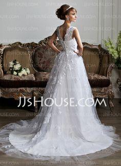 De baile Decote V Cauda capela Cetim Vestidos de noiva com Renda Bordado (002011394) - JJsHouse