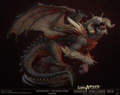 Comicon 2015 - Doomsday + Fin Fang Foom, Crystel Land on ArtStation at… Creepy Monster, Monster Art, Alien Creatures, Fantasy Creatures, Creature Feature, Creature Design, Dragon Zodiac, Dragons, 3d Figures