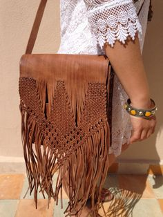 33fa85b65982 Moroccan Fringed Cross Body Leather Hand bag by TheBihiStore Cross Body
