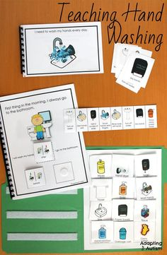Activities to teach hand washing hygiene to students with special needs. Includes task analysis, social narrative, adapted book, sequencing cards and file folder activity.