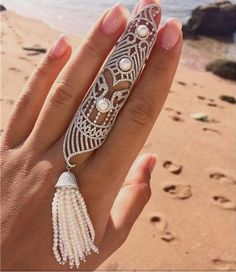 FArt Deco Statement Rings Full Finger Ring Filigree Pearl armor rings long finger ring jewelry