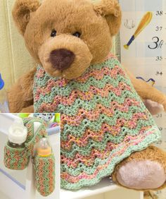 Baby Bottle Cozy & Bib Crochet Pattern. Red Heart Free Pattern - no membership required