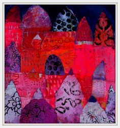 A dream colored in red.... acrylic on paper 25x25cm Elke Trittel