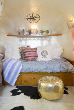 Check out the sleeping area in the Junk Gypsies Airstream trailer for Miranda Lambert's mom.