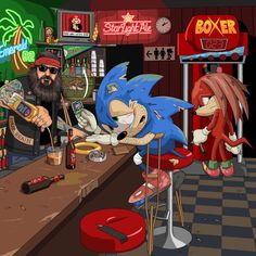 A bitter washed up Sonic the Hedgehog on crutches drowning his sorrows in a bar having completely ruined his knees with 26 years of high impact running. Hes crying over a tattered photo of Amy Rose and has just spent his last gold ring on whiskey. Credit to jim ll paint it