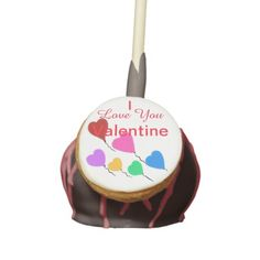 I Love You Valentine Hearts Balloons.  Colorful heart balloons with the look of sprinkles.  With the wording, I Love You Valentine.  Can PERSONALIZE.  Shown with dark chocolate icing, red drizzle, red velvet filling.  Choose YOUR cake colors & flavors.  Graphic Art Digital Painting design by TamiraZDesigns via:  www.zazzle.com/tamirazdesigns*