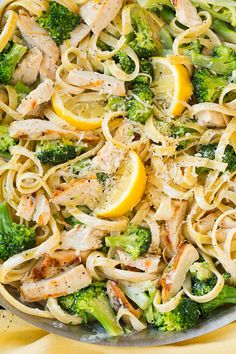 Lemon Fettuccine Alfredo with Grilled Chicken and Broccoli  #healthyrecipes