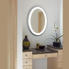 The Tigris LED Oval Mirror by Tech Lighting brings ab ethereal glow and energy-efficient technology to a variety of spaces. The Tigris provides ample amounts of shadow-free task lighting through the plated pressure formed the frame and white glass. Mirror Kit, Lighted Vanity Mirror, Led Mirror, Oval Mirror, Bathroom Vanity Lighting, Mirror With Lights, Vanity Mirrors, Bathroom Mirrors, Foyer Lighting