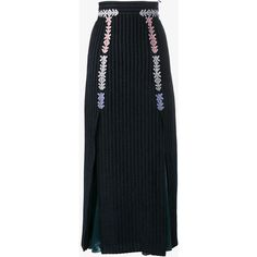 Peter Pilotto Velvet Midi Skirt With Satin Inserts (31 310 UAH) ❤ liked on Polyvore featuring skirts, midi skirt, peter pilotto skirt, embellished skirt, velvet skirt and macrame skirt