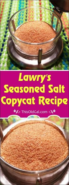 This Old Gal Seasoned Salt {House Seasoning} is an all purpose seasoning. Use in any recipe calling for Lawry's Seasoned Salt or house seasoning. No Salt Recipes, Copycat Recipes, Sauce Recipes, Real Food Recipes, Cooking Recipes, Yummy Food, Homemade Dry Mixes, Homemade Spices, Homemade Seasonings
