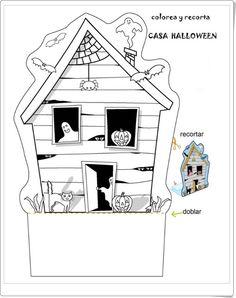 """""""Casa de Halloween para colorear y recortar"""" (Orientacionandujar.es)"""