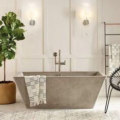 Find Your Zen: 19 Spa Bathroom Ideas Future House, Concrete Bathtub, Deep Tub, Deep Bathtub, Deep Soaking Tub, Mini Bathtub, Bathroom Inspiration, Bathroom Ideas, Bathroom Organization