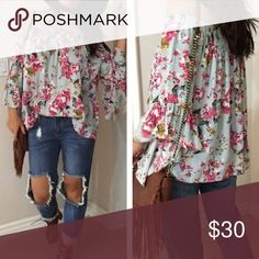 """Babydoll bohemian Floral off shoulder Floral top Brand New, Never worn.  Babydoll Floral off shoulder top with 3/4 Bell sleeves.  Elastic neck line .  Pair with skirts/jeans/Shirts or leggings for a fun look.  True to size Loose fit.  100% Rayon.  No Trades, Bundle for 10% Discount .  Model is wearing Medium 5'3"""" Tops Blouses"""