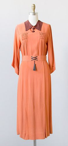 vintage 1930s dress / vintage 30s orange dress / 1930s dress