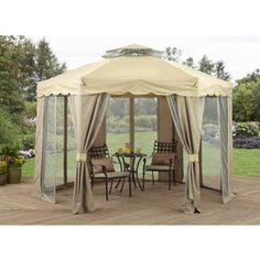 Outdoor Gazebo With Netting Canopy Patio Tent Pergola Garden Shade Shelter for sale online Outdoor Canopy Gazebo, Screened Gazebo, Outdoor Gazebos, Backyard Gazebo, Garden Gazebo, Canopy Tent, Pergola Patio, Outdoor Gardens, Canopies