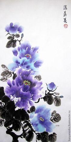 Купить Раннее утро. Фиолетовые пионы - елена касьяненко, китайская живопись, гохуа, пионы