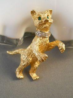 Hattie Carnegie Cat Kitty Brooch Pin Book Piece $95