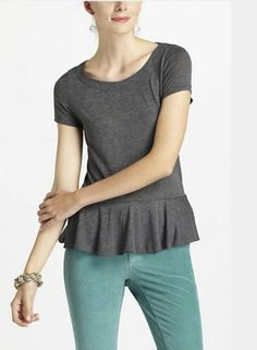 NWT Anthropologie PURE AND GOOD Dark Gray Peplum Tee Sz S Top Shirt Blouse