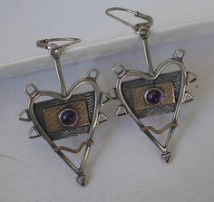 Spike Heart  Mixed Metal Amethyst Earrings by jeanniehaydon, $150.00