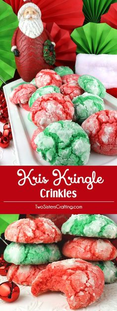 Kris Kringle Crinkles - light and fluffy on the inside and sweet and crunchy on the outside. A yummy homemade Crinkle cookie recipe that is not made from a cake mix. This classic Christmas cookie recipe is a keeper.  This fun and easy treat would be a great Christmas dessert idea for a Christmas Party, a holiday gift basket or a Christmas Cookie exchange. Pin this easy Holiday cookie recipe for later.
