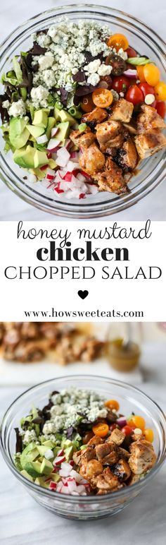 honey mustard chicken chopped salad I howsweeteats.com @howsweeteats