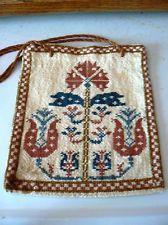 Antique PURSE BAG handmade, cross stitch, sampler, tulip design Lovely work!