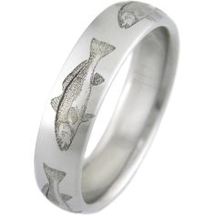Men's Laser-Engraved Redfish Ring - Titanium-Buzz Engraved Jewelry, Engraved Rings, Personalized Jewelry, Meteorite Wedding Band, Titanium Rings For Men, Sunflower Jewelry, Michael Kors Jewelry, Red Fish, Laser Engraving