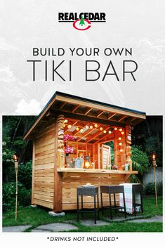 This durable DIY Cedar Tiki Bar can even double as an outdoor storage shed! Let the Tiki Party comme Outdoor Garden Bar, Diy Garden Bar, Outdoor Tiki Bar, Backyard Bar, Patio Bar, Outdoor Bars, Pool Bar, Diy Projects Plans, Outdoor Projects