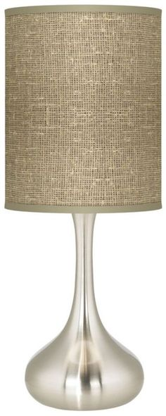 Burlap Print Modern Kiss 24 1/2-Inch-H Table Lamp -