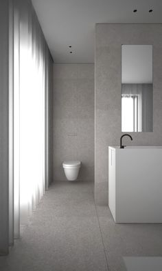grey and minimal bathroom - house LAN in Deerlijk Belgium by AD Office