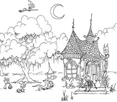 Printable Coloring Page For Halloween Of A Skeleton In Haunted House Witch Alligator