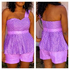 Purple and Lilac African Print Short Set, Purple And Lilac One Shoulder Ankara Short Set