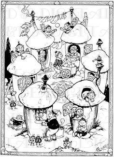 MUSHROOM Houses Full of Imps, Elves and Fairies. Vintage DIGITAL Fairy Illustration. VINTAGE Fairy, Elf, Gnome, Imp Digital Download.