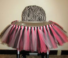 Zebra Highchair Birthday Decoration Tutu TEMPORARY Seat Cover Minnie Mouse, Hello Kitty by LunasFolly, $30.00