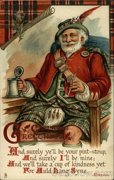Christmas Greetings - With Scottish Santa Santa Claus-I need to print this out and frame it for the holidays.