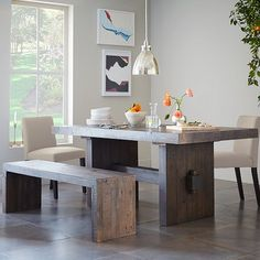 Love the color of the wood. Emmerson Dining table & bench | west elm