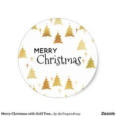 """White """"Merry Christmas"""" Stickers with Gold Christmas Trees and Stars. Gold Christmas Tree, Christmas Cakes, Christmas Stickers, Christmas Gift Wrapping, Simple Christmas, Merry Christmas, Christmas Gifts, Xmas, Fancy Envelopes"""