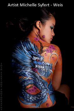 Gorgeous Dragon Back design Michelle Weis - Premier Face Painting