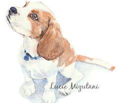 Alaskan Malamute Puppy Art Print Sepia Watercolor by Artist DJR