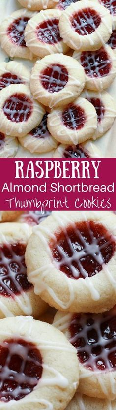 Raspberry Almond Shortbread Thumbprint Cookies - a tender shortbread cookie packed with raspberry jam and topped with a simple almond icing yum! Holiday Desserts, Holiday Cookies, Holiday Baking, Holiday Recipes, Gluten Free Christmas Cookies, Winter Recipes, Cookie Recipes, Dessert Recipes, Cookie Ideas