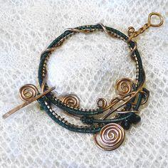 Wire wrapped and beaded shawl pin