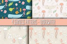 4 Seamless Patterns - Underwater by Blue Lela Illustrations on Creative Market